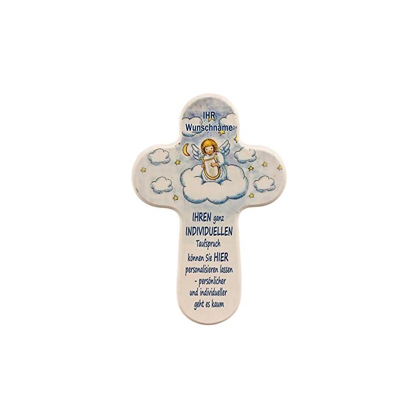 Personalisiertes Schutzengelkreuz mit EIGENEN Taufspruch UND individuellen Namen 1