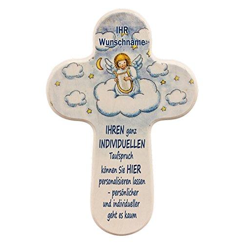 MaMeMi Personnalisez Votre Ange Gardien Croix avec Propre nom de baptême Inscription individuels et