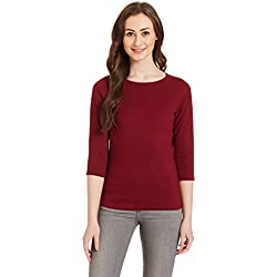 Miss Chase Women's Basic Top (MCAW14TP01-84-64_Maroon_L)