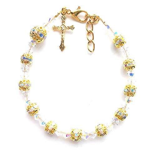 i Kristall Funkelnden Strasssteinen Rosenkranz Armband Jesus Kruzifix Kreuz Charme-vergoldet ()
