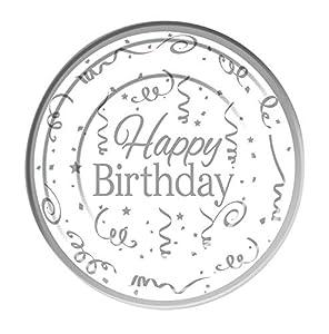 Forum Novelties- Silver Happy Birthday Plates Plastic (10 Pack) 15cm, Color, White (X81620)