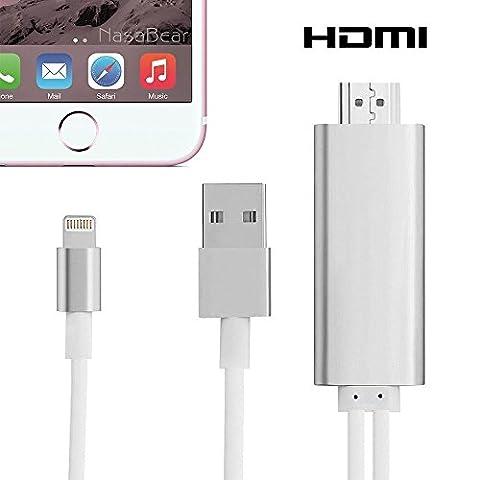 Lightning 8 broches câble HDMI, Apple Super vitesse connecteur à 8 broches mâle à mâle câble HDMI 1080p HDTV adaptateur avec câble de charge USB pour iPhone5 5S 6 6S Plus intégré-Argent
