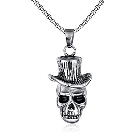 Vnox Men's Stainless Steel Skull Hat Head Punk Pendant Necklace Gothic Hip Hop Jewelry Silver Black,Free Chain