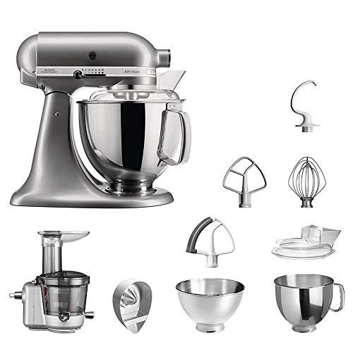 KitchenAid Küchenmaschine | VORTEILS SET | Artisan 5KSM175PS Entsafter Paket | inklusive Entsaftervorsatz, Zitronenpresse und Standardzubehör (Kontur Silber)
