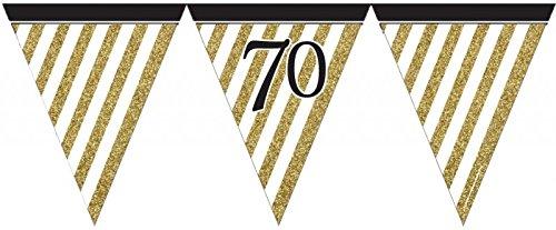 34 Teile Dekorations Set zum 70. Geburtstag oder Jubiläum – Party Deko in Schwarz & Gold - 3