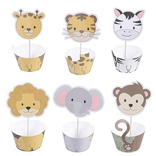 (BESTONZON 24 STÜCKE Cupcake Topper Wrapper Set, Kuchen Dekor, Zoo Tier Thema, Geeignet für Baby Shower Birthday Party Favors Supplies)