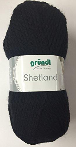Gründl Wolle Shetland Farbe 11 - schwarz - Schnellstrickwolle, weiche Wolle zum Stricken & Häkeln 100g Knäuel