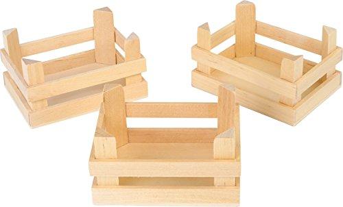 Juego de 3 cajas de madera color natural para jugar a las tiendas, se puede utilizar tanto en casa como en el jardín. Gracias a su color de madera natural lo podrás pintar en el color que más desees. Ideal para almacenar frutas y verduras. Se puede c...
