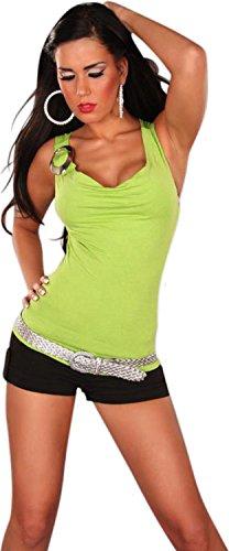 Damen Top Shirt Wasserfall Uni Trendy Zierschnalle Hüftlang Träger Lindgrün