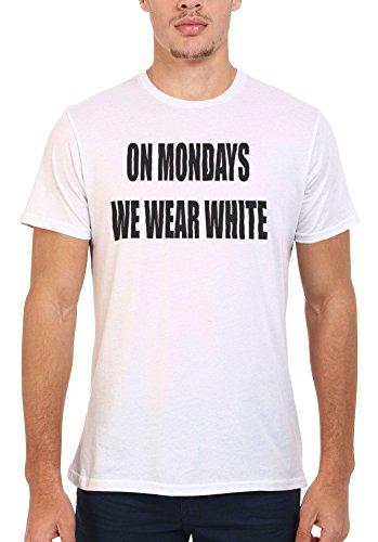 On Mondays We Wear White Cool Men Women Damen Herren Unisex Top T Shirt .Weiß