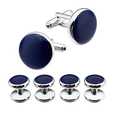 HAWSON Trendy Blue Enamel Fashion Men Shirt Cuff Links Studs Set Silver
