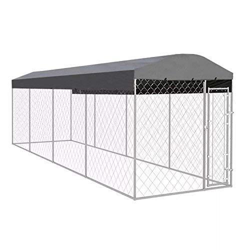 WT Trade Premium XXL Outdoor-Hundezwinger für Draußen mit Überdachung und Tür | 800x200x240cm | Hundehütte Hundekäfig Sonnendach Dach Hundehaus Hütte | außen Auslauf