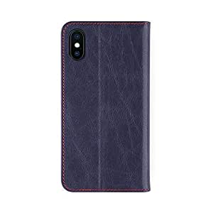 iPhone X Dark Blue Leather Case - iATO Premium Protective Book Type Genuine Cowhide Cover - Unique & Stylish Folio Flip Wallet Accessory for iPhone X / 10 - Supports Wireless Charging