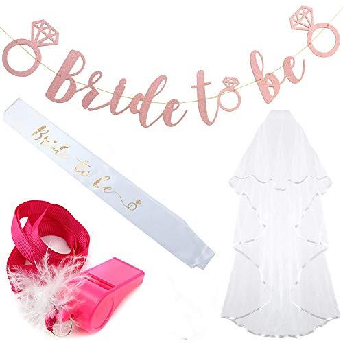 Fiyomet Bachelorette Party Dekorationen Kit Bridal Shower Supplies Braut Schärpe Banner Schleier Pfeife sein