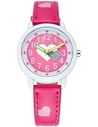 Montre Fille Bracelet Cuir - Montre à Quartz Analogique Cadeau Idéal - Rouge Rosé
