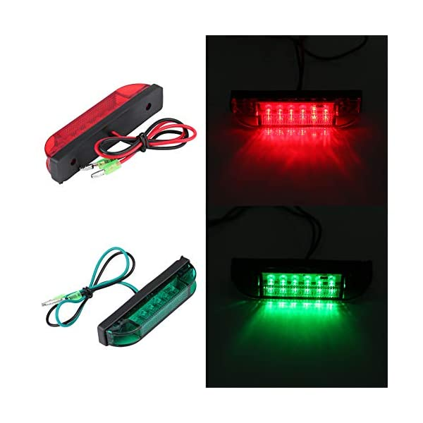 4Pcs LED Strip Navigation Light Led Bulb Yach Marine Boat Navigation Lights Bar Strip Signal Light, Red & Green…