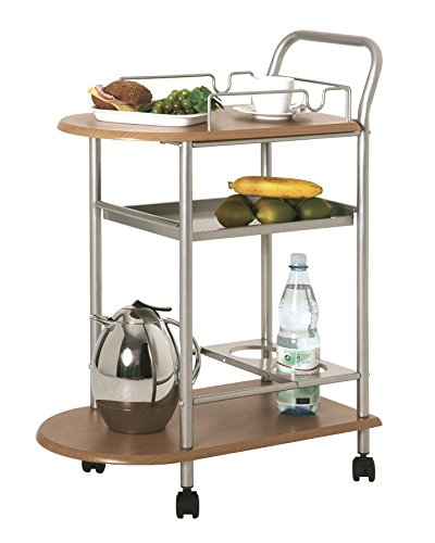 Küchenwagen bzw. Teewagen inkl. Flaschenhalter in alu-buche