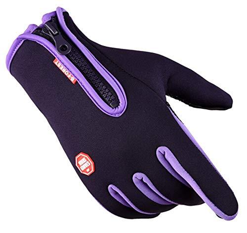 Gnzoe Touch Screen Handschuhe Winddicht Fahrradhandschuhe Motorrad Reißverschluss Vollfingerhandschuhe Skihandschuhe Lila Groß