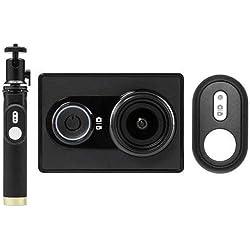 YI Set di fotocamera action cam, 16MP Full HD 1080P, con bastone per selfie e telecomando Bluetooth, nero