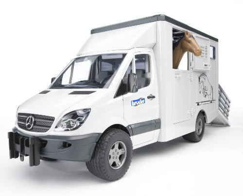 BRUDER - 02533 - Camion de transport animal MERCEDES BENZ Blanc avec un cheval