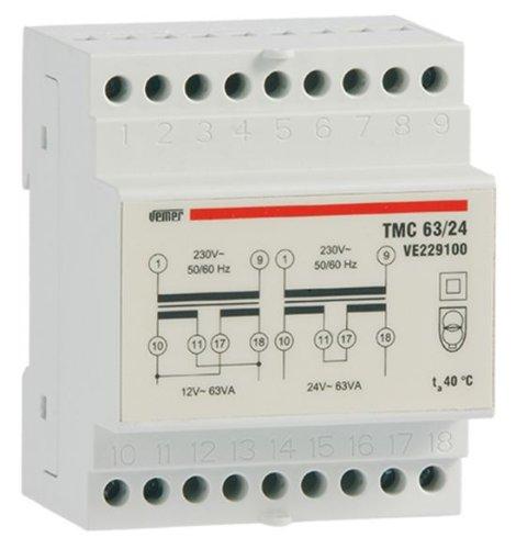Trasformatore modulare di sicurezza TMC 63/24 con doppio isolamento Vemer