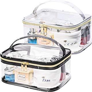 2 Stücke Tragbare Marmor Muster Klar Makeup Tasche Gold Reißverschluss Wasserdichte Transparente Reise Aufbewahrungstasche Kosmetische Kulturbeutel mit Griff (Schwarz und Weiß)