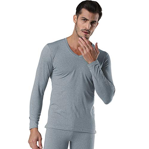 QZHE Thermo-Unterwäsche für Herren Winter V-Ausschnitt Warm Long Johns Set Für Männer Ultra-Soft Solid Color Dünne Thermo-Unterwäsche Anti-Mikrobielle Stretch, XL - Antimikrobielle Unterwäsche