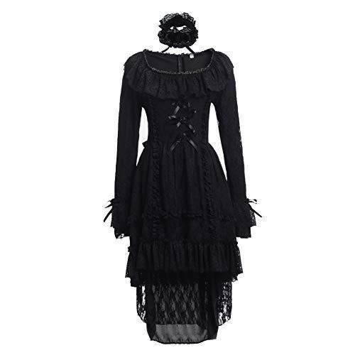 GRACEART Damen Vintage Spitzen Abendkleider Cocktail Party Kleid Gothic Steampunk Röcke (L)