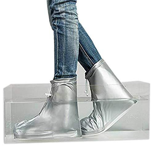 Medifier Unisex-wieder verwendbare wasserdichte overboot Schuh Abdeckungen mit reflektierenden Knöchel Befestigung für Motorrad/Fahrrad-reitende Gartenarbeit Silber L (Overshoe Boots)