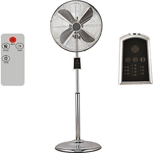 Syntrox Germany SVT-60W Chrom Retro Ventilator mit Fernbedienung, Timer und Oszillation