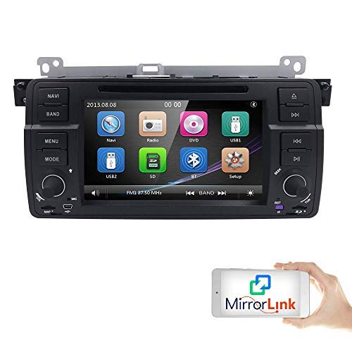Single Din 7 inch In Dash Multimedia Headunit HD Touchscreen Car DVD Player GPS Navi Stereo Steering Wheel Control Bluetooth SD USB iPod Radio AV-IN 1080P for BMW 3 Series E46 / M3 (1998-2006)