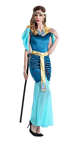 Honeystore Damen Halloween Kostüme Kleopatra und Griechischen Göttin Cosplay Allerheiligen Kleider Blau XL