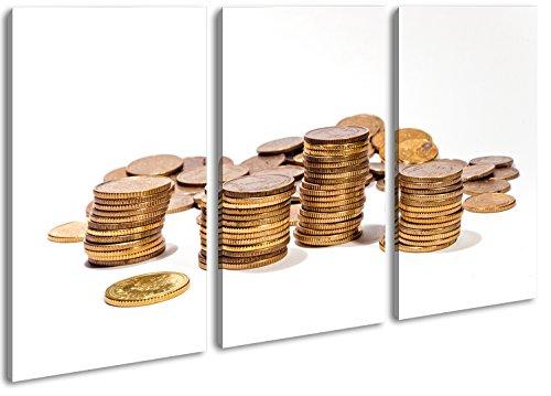Stapel Münzgeld im Format: 3-teilig 120x80 als Leinwand, Motiv fertig gerahmt auf Echtholzrahmen, Hochwertiger Digitaldruck mit Rahmen, Kein Poster oder Plakat (Dollar Radiergummi)