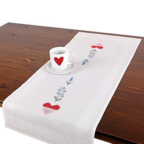 Stickpackung Herzen, komplettes vorgezeichnetes Kreuzstich Tischdecken Set, Sommer Tischläufer Stickset mit Stickvorlage zum Selbersticken -