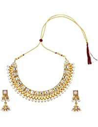 Dancing Girl Kundans Bridal White Metal Alloy Jewellery Set With Necklace And Earring For Women