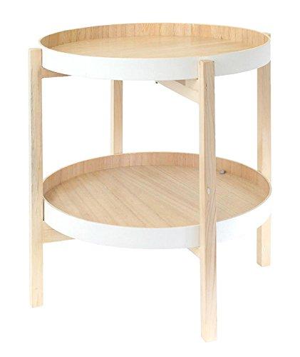 PEGANE Table Ronde 2 Plateaux en Bois Blanc - 49x49x50 cm