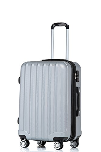 TSA-Schloß 2080 Hangepäck Zwillingsrollen neu Reisekoffer Koffer Trolley Hartschale XL-L-M(Boardcase) in 12 Farben (Silber, M)
