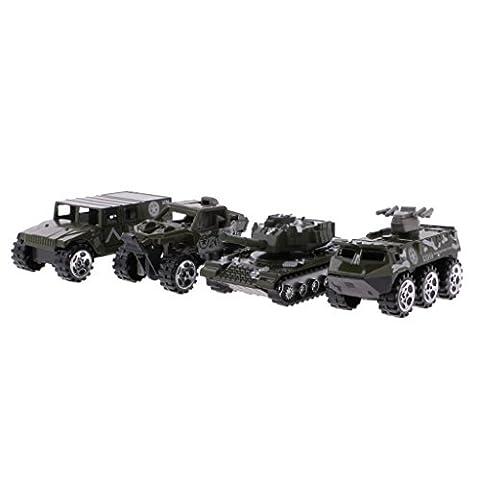 MagiDeal 4pcs 1:64 Diecast Modèle Voiture Militaire Armé Tank Camion Jouet Cadeau Collection pour Enfant Garçon - #2