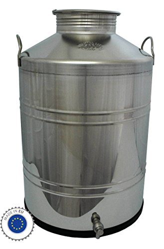 Fischer Kellereitechnik: Preiswerte 100 Liter Edelstahl-Kanne, Getränkefass / Transport-Kanne inkl. Auslauf-Hahn, für flüssige Lebensmittel wie Milch, Wein, Essig, Öl, Spirituosen, Most, Saft, Soße etc. - Made in EU - - Saft Fässer