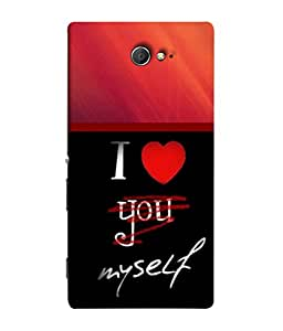 PrintVisa I Love Myself Wording 3D Hard Polycarbonate Designer Back Case Cover for Sony Xperia M2 Dual :: Sony Xperia M2 Dual D2302