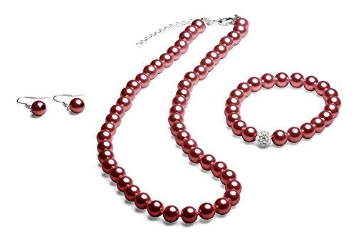 Perlenkette geknotet - Perlenarmband - Perlenohrringe - Set Bordeaux Rot
