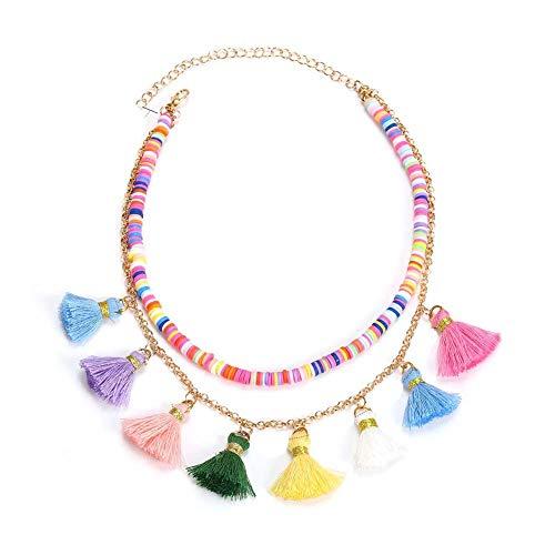 UNWMH Einfache mehrschichtige Kontrastfarbe Fringe Halskette Schlüsselbein Kette Anhänger Charme Schmuck