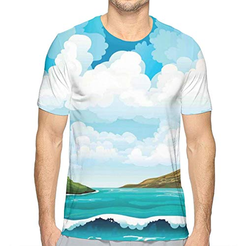 3D Printed T Shirts,Seascape with Waves Islands and Cloudy Blue Sky Tranquil Exotic Shores Cartoon Style S