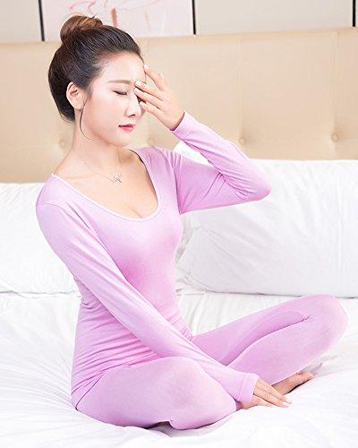 Donna Sottile Intima Termica Manica Lunga Pullover Top & Lunga Pantaloni Rosso