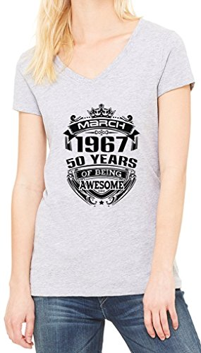 March 1967 Be Awesome Women's V-Neck T-shirt Gris