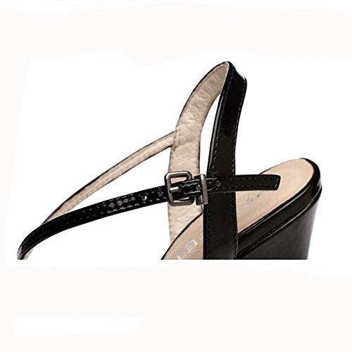 Été en cuir véritable de la femme étanche Superfine haut talons mode euroaméricains boucle de ceinture avec des sandales 41