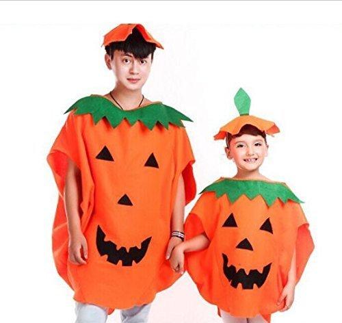 URGrace 2Pcs Party Supplies Cosplay Halloween Kürbis Kostüm Erwachsene und Kind Kleidung Hut Anzug für Familie Halloween (Kostüm Die Amigos 3)
