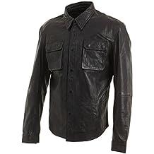 Nero Retro Jeans Trucker Giacca di pelle reale Uomo Vintage motociclista