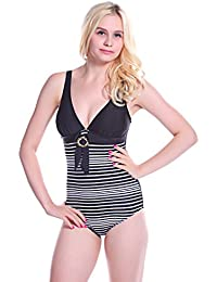 W11126 maillot de bain à rayures blanches