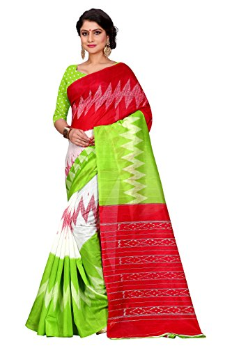 Sugathari Sarees Women\'s Mysore Bhagalpuri Art Silk Saree (Bhagalpuri Sarees 61 Green Red)